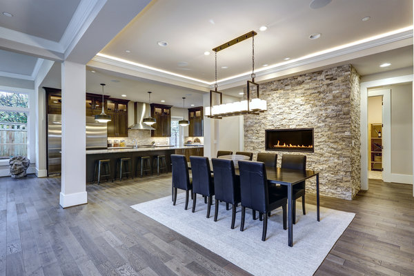 Gypsum 3D wall panels provide a gorgeous accent wall in this dining room.
