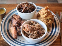 Buttermilk Fried Chicken; Smoked Pork; Dry-Rubbed, Smoked and Fried Chicken Wings; and Smoked Angus Beef Brisket at Uncle Smoke Cookhouse