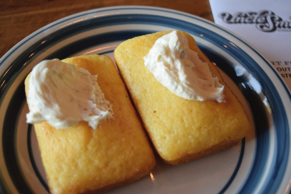 Cornbread with honey butter at Uncle Smoke Cookhouse