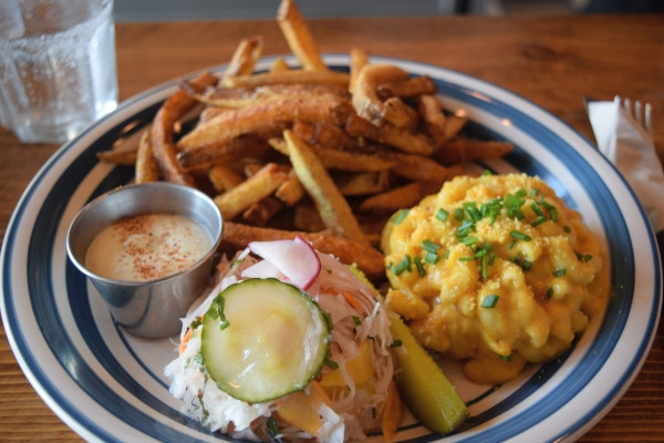 Crispy Fries, Mac and Cheese and Signature Slaw at Uncle Smoke Cookhouse
