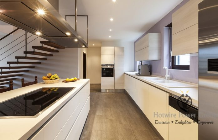 Add stick-on lights under cabinets to avoid rewiring.