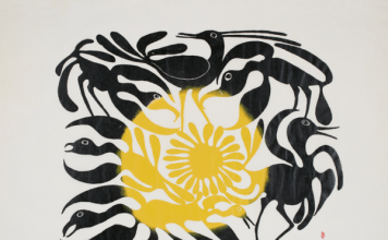 Kenojuak Ashevak, The Arrival of the Sun, 1962. Stonecut on paper, Sheet 63 × 82.6 cm. Gift of Samuel and Esther Sarick, Toronto