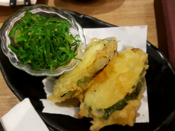 Seaweed Salad and Tempura Zucchini at KaKa All You Can Eat Restaurant at 655 Bay Street, Toronto