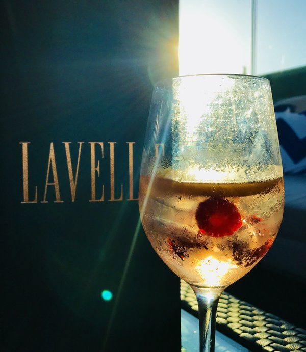 Moet with raspberries at Lavelle