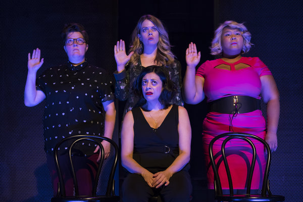 Tricia Black, Kirsten Rasmussen, Ann Pornel, Paloma Nunez (sitting) in She The People at Second City Toronto