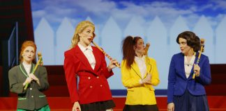 Paige Foskett as Heather Duke, Mary Bowden as Heather Chandler, Becka Jay as Heather McNamara, Emma Sangalli as Veronica Sawyer in Heathers: The Musical at Hart House Theatre, photo credit Scott Gorman