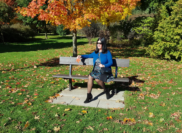 Enjoying the fall colour at Rosetta McClain Gardens in Toronto