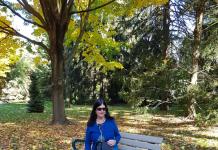 Admiring the gorgeous fall colour at Rosetta McClain Gardens in Toronto.