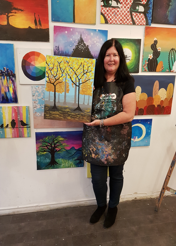 Me with my finished painting at Paintlounge Toronto East.