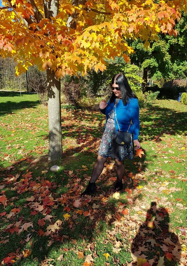 Kicking the leaves at Rosetta McClain Gardens in Toronto