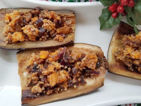 Stuffed Eggplant with Quinoa, Squash and Walnuts is vegan and gluten free.