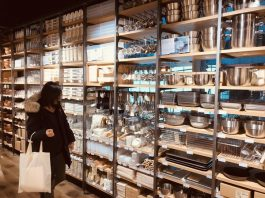 The housewares section on the second floor of MUJI at 595 Bay Street in Toronto.