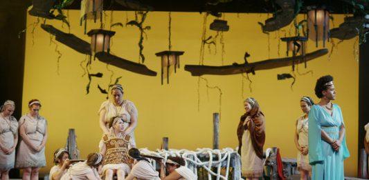 The women of the ensemble, Amanda Cordner as Penelope in The Penelopiad at Hart House Theatre, photo credit Scott Gorman