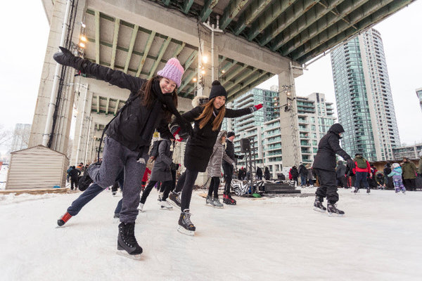 The Bentway outdoor skating rink in Toronto