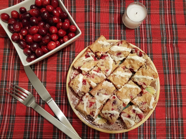 White Chocolate Cranberry Bars are a festive Christmas cookie.