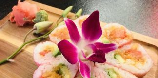 Salmon sushi flower at Grand Bizarre Supper Club