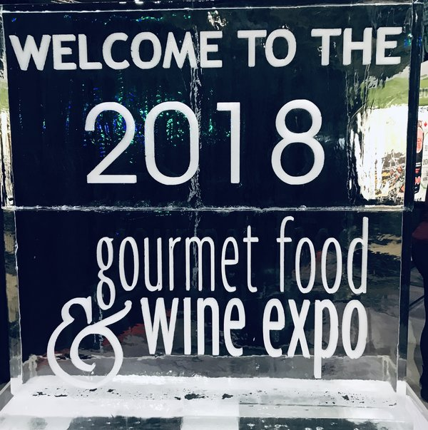 Show Sign carved in ice at the Gourmet Food & Wine Expo 2018