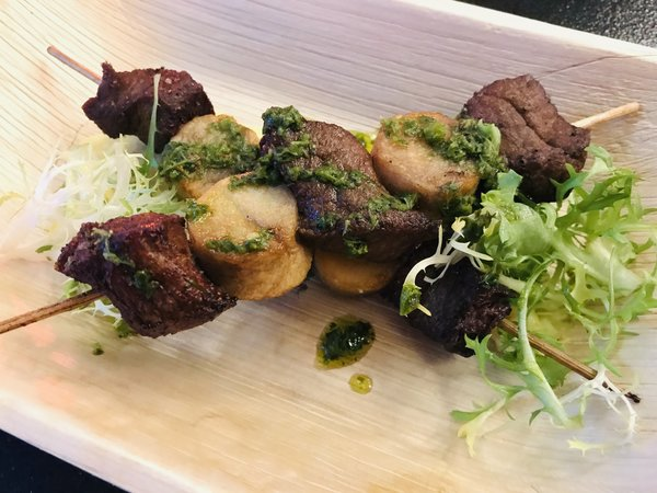 Steak skewers at Grand Bizarre Supper Club