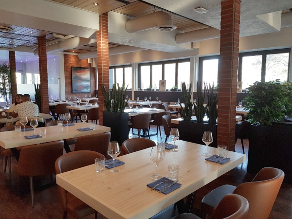 Interior of Neruda Restaurant is decorated in warm, neutral tones with plants.