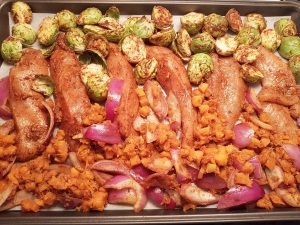 Sheet Pan Moroccan Chicken with Brussels Sprouts and Butternut Squash