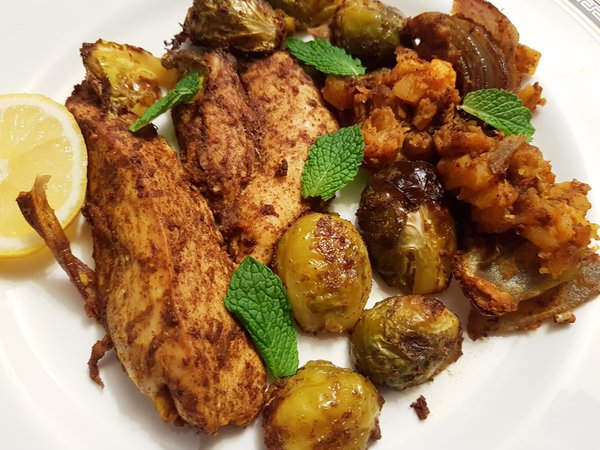 Moroccan Chicken with Brussels Sprouts and Butternut Squash