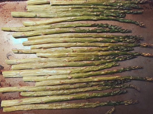 Roast asparagus at 425F for 25 minutes.