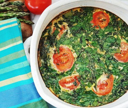 Roasted Asparagus and Spinach Frittata