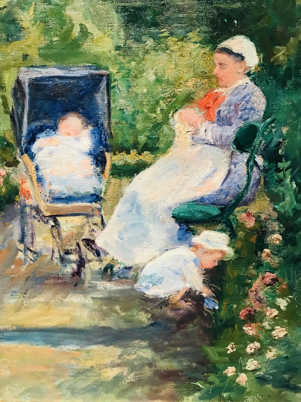 Mary Cassatt's Children in a Garden (The Nurse) at Impressionism in the Age of Industry: Monet, Pissarro and more