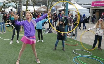Kiki Totally Outrageous performs with her hula hoop at Festival of Trees 2019.