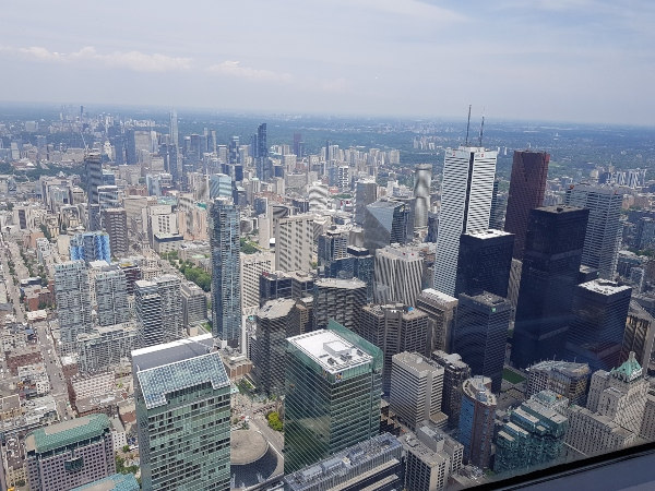 Looking north at the Financial District from 360 Restaurant at the CN Tower