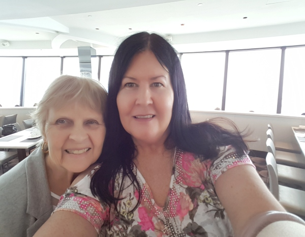 My mom and I at 360 Restaurant at the CN Tower