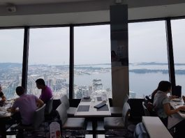Tables with a view at 360 Restaurant at the CN Tower