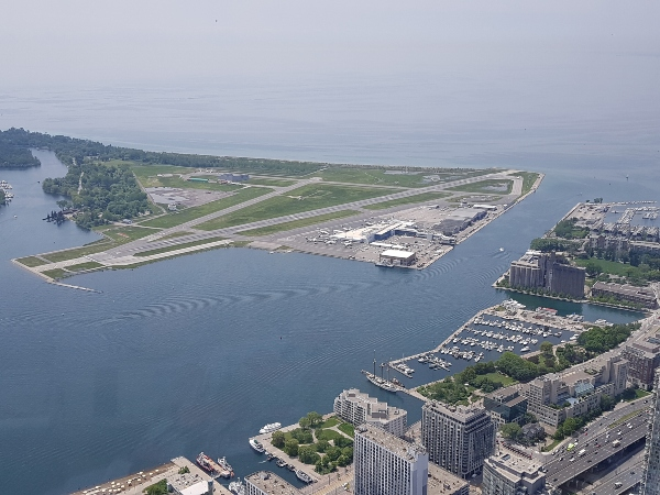 View of Billy Bishop Airport and Toronto harbour from 360 Restaurant at CN Tower
