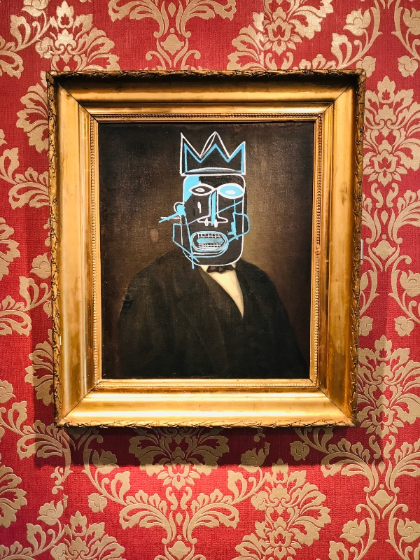 Basquiat inspired piece at Mr. Brainwash exhibit at Taglialatella Gallery