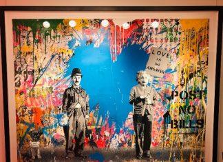 Chaplin & Einstein at Mr. Brainwash exhibit at Taglialatella Galleries in Toronto.
