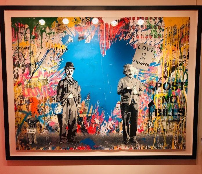 Chaplin & Einstein at Mr. Brainwash exhibit at Taglialatella Galleries in Toronto.