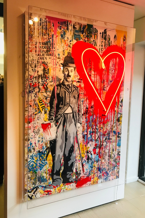 Neon Chaplin at Mr. Brainwash exhibit at Taglialatella Galleries in Toronto.