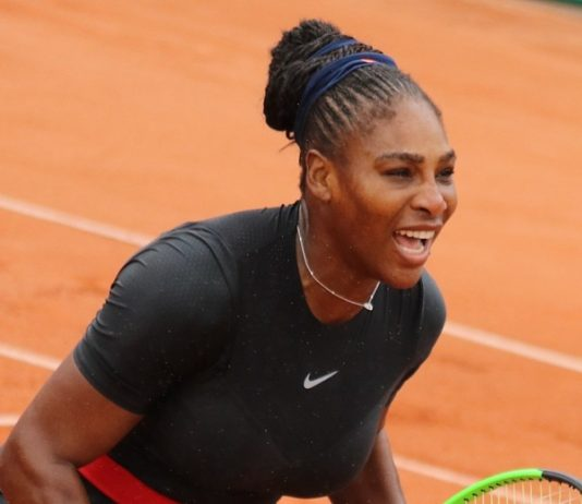 Serena Williams at 2018 French Open, photo by si.robi - Williams S. RG18 (17), CC BY-SA 2.0, https://commons.wikimedia.org/w/index.php?curid=70192116