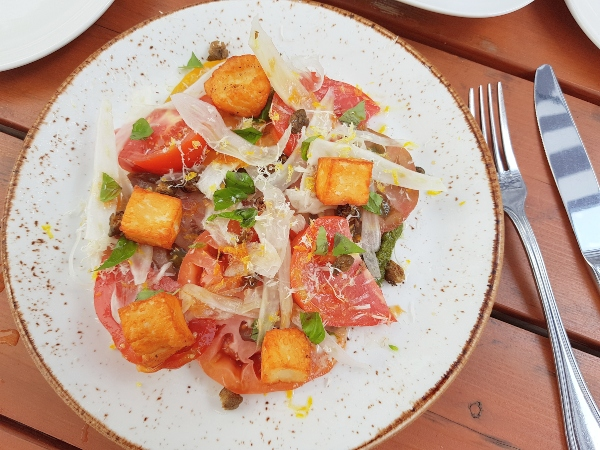 Heirloom Tomato Salad at Maple Leaf Tavern patio in Toronto