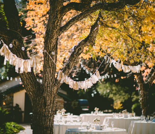 Planning a backyard wedding may include hiring a food caterer, which can be more affordable than preparing your own food.