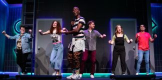 Black, McConnell, Lewis, Wilson, Metcalfe, Rasool in If I Could #Throwback Time Second City Toronto, photo Paul Aihoshi