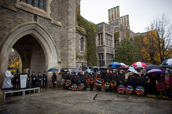 Remembrance Day ceremony at University of Toronto in 2018, photo courtesy U of T