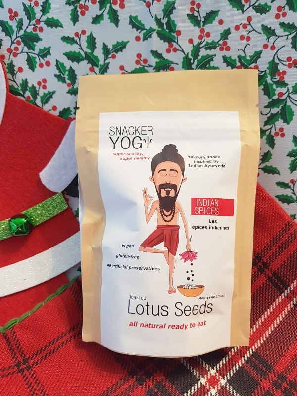 Snacker Yogi Roasted Lotus Seeds are a great stocking stuffer for vegans.