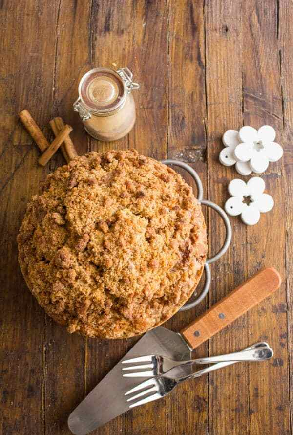 Cinnamon Crumb Coffee Cake is a delicious Halloween dessert, photo credit anitalianinmykitchen.com