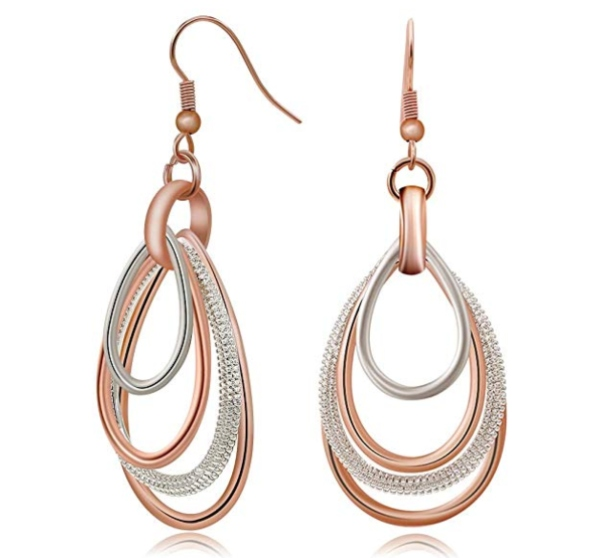 Kemstone Elegant Rose Gold Silver Two Tone Multilayer Dangle Earrings make a gorgeous stocking stuffer for her.