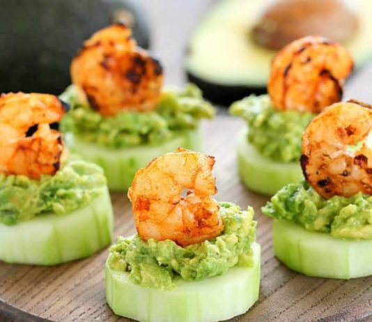 Low Carb Avocado Shrimp Cucumber Appetizers are some of the best holiday appetizers to serve at your party.