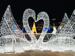 Swan sculpture at Aurora Winter Festival 2019