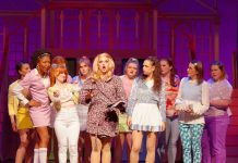 Emma Sangalli as Elle Woods with The Company in Legally Blonde: The Musical at Hart House Theatre, photo Scott Gorman