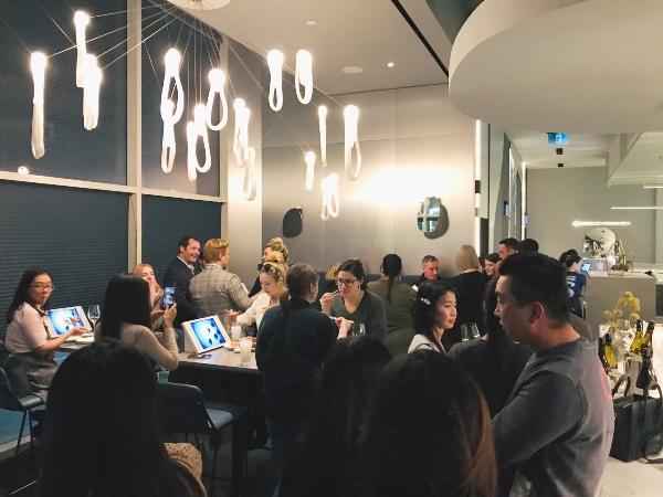 Crowd at TORA Restaurant one year anniversary party