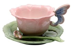 CG 20854.5 Inch Rose Flower 6 Piece Set of Tea Cups, Saucers and Spoons